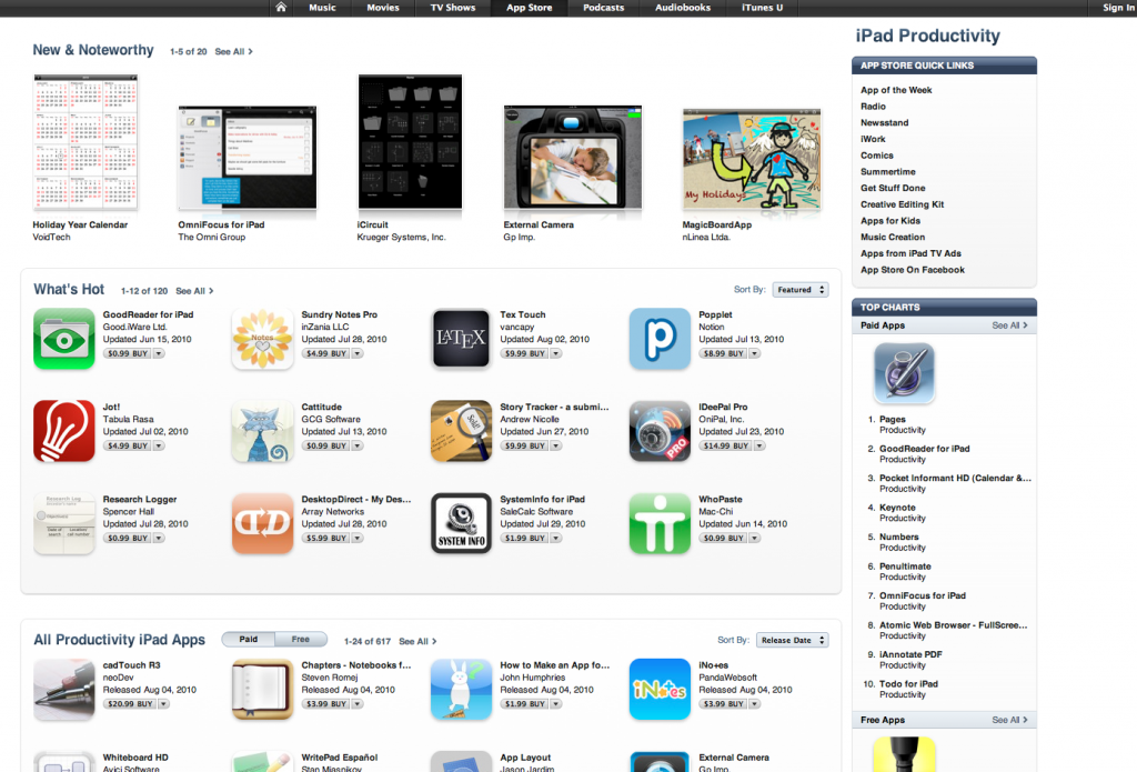 Holiday Year Calendar top in New & Noteworthy iPad Productivity 2