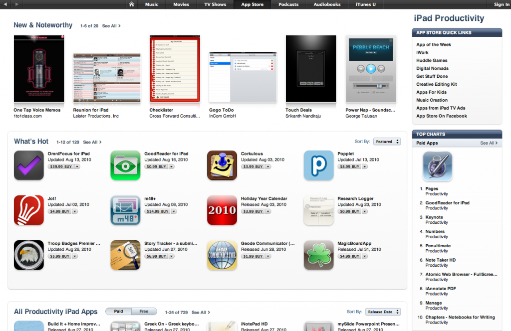 Holiday Year Calendar in What's Hot iPad Productivity (US App Store)